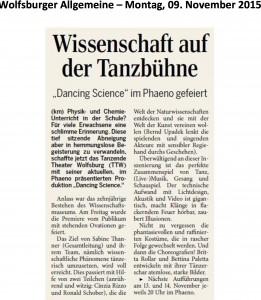 Kritik der Wolfsburger Allgemeinen vom 9.11.2015